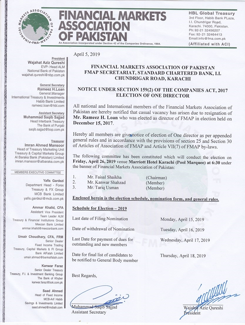Notice  of Election One Director 2019 p1